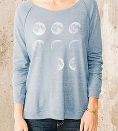 Women's Moon Phases Pullover Sweater | All of the lunar phases, from slivery crescent to full moon gr... | Sweatshirts