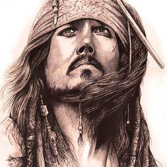 """""""captain jack sparrow"""" illustration au stylo"""