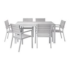 IKEA - FALSTER, Table+6 armchairs, outdoor, gray, , Polystyrene slats are weather-resistant and easy to care for.The furniture is both sturdy and lightweight as the frame is made of rustproof aluminum.You can make your chair more comfortable and personal by adding a chair pad in a style you like.