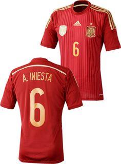 スペイン代表2014シーズン ホームユニフォーム。 ワールドカップ2014ブラジル大会着用モデル。 「#6 A.INIESTA」オフィシャルマーキング入り。