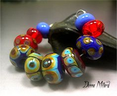 Handmade LAMPWORK Glass Bead Set DONNA MILLARD