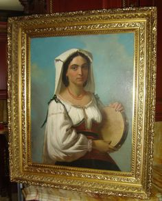 ANTIQUE ITALY CIOCIARA GYPSY PORTRAIT OIL PAINTING SIGNED IMPORTANT ELISEO SALA