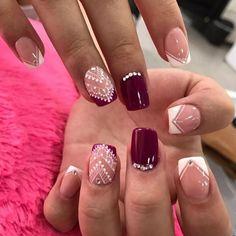Vino burdeaux Coffin Nails, Acrylic Nails, Beauty Nails, Hair Beauty, Henna Nails, Mandala Nails, Nail Decorations, Easy Nail Art, Perfect Nails