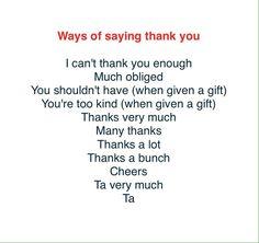 Ways of saying Thank you
