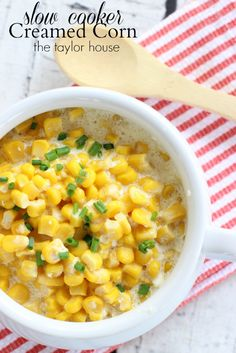 Slow Cooker Creamed Corn - looks so delicious and easy to make! I love slow cooker recipes.