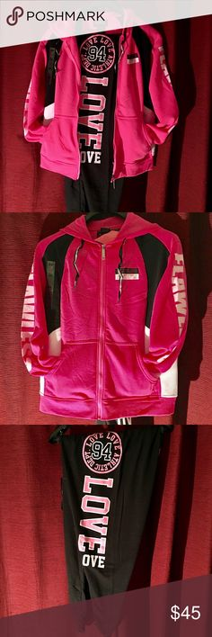 💞💞💞woman's plus size sweatsuit💞💞💞 This is a real cute suit pink and black the jacket is zipper with two side pockets down each sleeve is written flawless with a hoodie the pants are really stunning with the logo  and love ❤️ written on the leg the pic show the details of the outfit  this is great for the season very good fitting and colors are attractive and most of all soft comfortable please no low balling my prices are low already I bring down to the lowest  I bundle at 20 off thank…