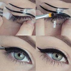 2 Set of 4pcs women's fashion videos smoky cat eye makeup eyeliner Beauty Tools - Black