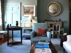'Oval Room Blue' by Farrow & Ball: Shelia Bridges' blue living room by xJavierx, via Flickr