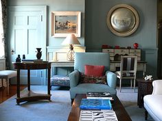 'Oval Room Blue' by Farrow & Ball: Shelia Bridges' blue living room by xJavierx, via Flickr
