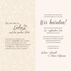 Ansicht Seite 2 und 3. Das Hochformat und der verspielte Hintergrund florale Hintergrund machen diese Hochzeitseinladung besonders.