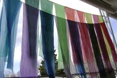 Silk scarves drying in the breeze. It's like a box of fresh crayons: so bright and full of possibilities! Sewing Hacks, Sewing Projects, Sewing Tips, Sewing Ideas, Sewing Techniques, Silk Scarves, Silk Fabric, Crafty, Pattern