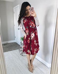 Madison Striped/Floral Dress - Wine - $34