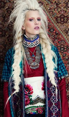 beaded necklaces, style, long hair, blond, braids, inspir, fashion editorials, fashion photography, grand bazaar