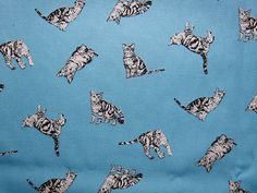 Cat Fabric, Lightweight Cotton Canvas, Tiger Cats.  For other cat fabrics, please go to: https://www.etsy.com/shop/theheydayshop?ref=hdr_shop_menu&search_query=cat+fabric  Material: 100% cotton canvas (lightweight)  Measurements: This listing is for 1 half yard (18 x 44 / 45.7cm x 110cm)  Shipping: All orders are sent via Normal Airmail with no tracking option. Free upgrade to Registered Airmail for orders $35.00 and above (excluding shipping); your pack...