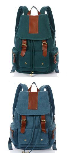 Vintage Nice Large Travel Rucksack Leather Canvas School Backpack for big sale ! #backpack #school #canvas #bag #cute #student