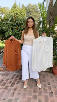 fashionactive on Instagram: Fashion hack 😍 What do you guys think? @meghaseehra Clothing Hacks, White Jeans, Hair Cuts, Hair Color, Ruffle Blouse, Street Style, Guys, The Originals, Instagram Fashion