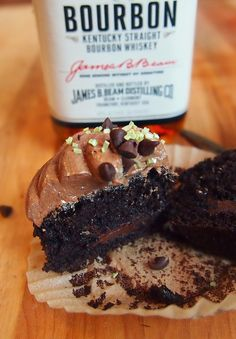 """Dark Chocolate Whiskey Cupcakes! """"Man Approved"""""""
