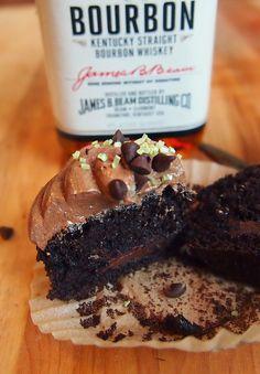 Dark Chocolate Whiskey Cupcakes!