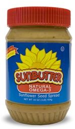SunButter Natural Omega 3 Flaxseed Sandwich Spread.  Alternative to Peanut Butter and good for those with tree nut allergies.