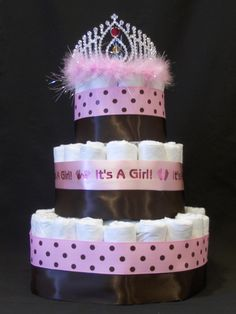 baby shower diaper cakes for girls | Princess girl Diaper Cake tiara pink baby shower gift diapers polka ...
