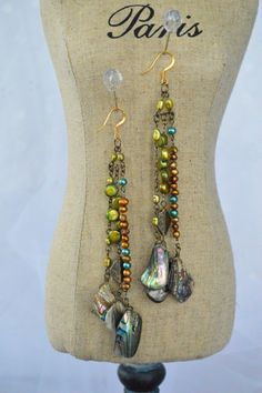 Mother of Pearl Abalone and Green, Gold, Teal Fresh Water Pearl Chandelier Earrings with 14k Gold Plated Earhooks - Boho Chic! by adrienneadelle, $75.00  #boho #bohochic #adrienneadelle #Hippylove #accessories #handmade
