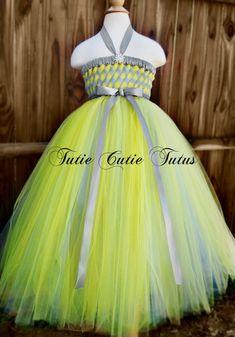 Blumenmädchen gewebt Tutu Kleid in Silber und gelb