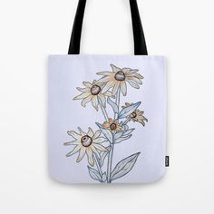 rudbeckia, floral, flowers, bag, tote, society6, society 6, violet, pastel, daisy, product, art, illustration, daisies, yellow daisy...
