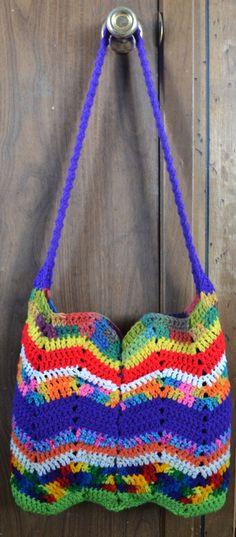 Ripple Crochet Hobo Bag Sling Bag Chevron Bright by 2LeftHandz