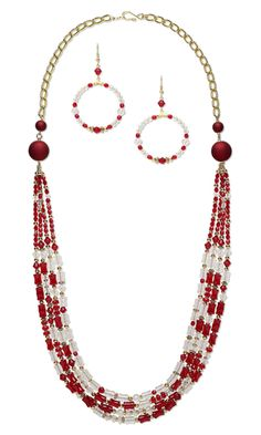 Multi-Strand Necklace and Earring Set with Glass Beads, Gold-Plated Brass Beads and Rubberized Acrylic Beads