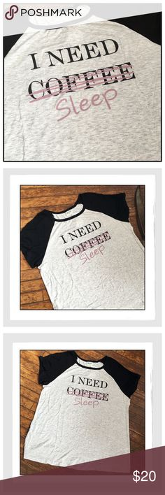 """✨{Plus} """"I Need Sleep"""" Fun & Funky Tee✨ Adorable, Fun Tee That Tells Everyone Basically To Leave You Alone✨Scoop Neck With Raglan Sleeves✨Fabric: 95% Rayon/5% Spandex✨Approx Measurements: For Size 1X-Bust {Across}-23""""/Length-26""""✨For Size 2X-Bust {Across}-24""""/Length-27""""✨NEW✨Sizes 1X & 2X✨ H.I.P. Tops Tees - Short Sleeve"""
