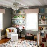 sweet nursery, great storage/organizing on walls