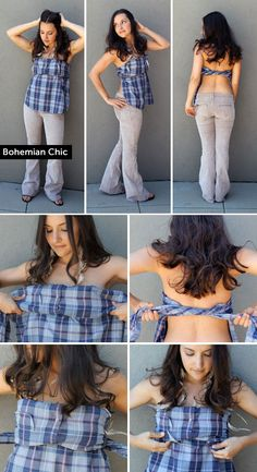 How to turn an oversized men's shirt into a boho tube top - the tutorial is actually one top done in several different styles. Diy Clothing, Sewing Clothes, Diy Vetement, Fru Fru, Diy Fashion, Fashion Tips, Shirt Refashion, Boho, Cool Outfits