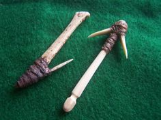 Two Bone Fish Hooks  Primitive Replicas  by TwoRiversTradingCo