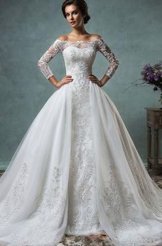 Amelia Sposa Inspired Vintage 2 Piece Long Sleeve Lace Replica Wedding Gown