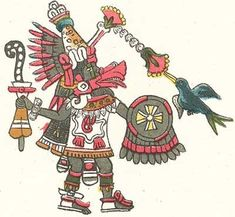 "In Aztec mythology, Huitzilopochtli, also spelled Uitzilopochtli (Classical Nahuatl: ""Hummingbird of the South (on the Left)"", or ""Left-Handed Hummingbird"") was a god of war, a sun god, and the patron of the city of Tenochtitlan."