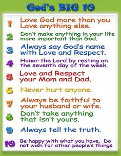 Kid Friendly Ten Commandments
