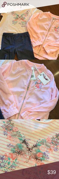Jessica Simpson 3piece set ADORABLE 3 piece set including faux denim leggings, tunes c length top and light jacket with embroidery detail  Cotton/poly/spandex Nylon jacket Jessica Simpson Matching Sets