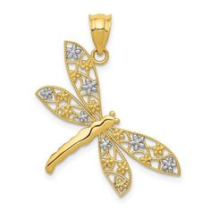 14k with Rhodium Filigree Dragonfly Pendant / STYLE: K4245 #QualtyGold #SpringFashion #Dragonflies #DragonflyPendant Dragonfly Pendant, Star Pendant, Rose Jewelry, Gold Filigree, Gold Price, Engraved Rings, Selling Jewelry, Gold Material, Silver Stars