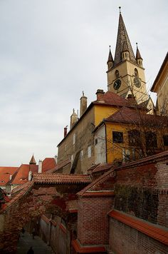 Sibiu by arrakis_m, via Flickr~Sibiu is a city in Transylvania, Romania, located 282 km northwest of Bucharest. The city straddles the Cibin River, a tributary of the river Olt.