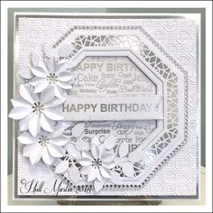 Silver on White with my and detail embossing powder in silver . Birthday Cards For Women, Handmade Birthday Cards, Greeting Cards Handmade, Card Making Inspiration, Making Ideas, Chloes Creative Cards, Hexagon Cards, Spellbinders Cards, Engagement Cards