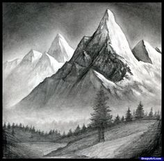 how to draw a realistic landscape, draw realistic mountains step 15