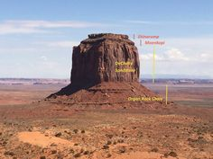 Monument Valley, Utah-Arizona border. This is a picture of Merrick Butte, with the stratigraphic units clearly labelled. The differential weathering is apparent! The Organ Rock Shale is a source of reddish dust in the region.