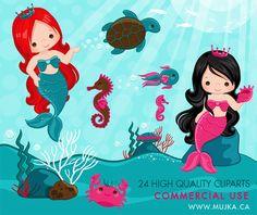 Mermaid Characters Clipart Pastel Mermaid Graphics Card Making