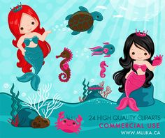 Imágenes Prediseñadas de sirena poco encantador y bajo mar