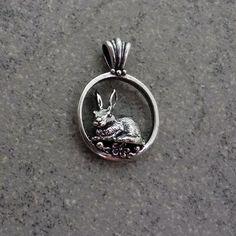 rabbit jewelry realistic silver 14k gold pendant charm hare bunny flowers handmade USA – All Animal Jewelry & Jan David Design Jewelers