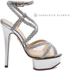 Charlotte Olympia Isadora Silver Metallic Platform Sandal $995 Fall 2013 #Shoes #Heels #charlotteolympiaheelsplatform