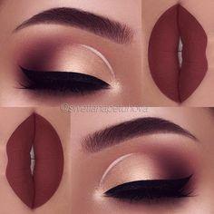"""Brows: Anastasia Beverlyhills brow wiz in """"dark brown"""" and brow definer in """"medium brown"""", clear brow gel Eyeshadow: Anastasia Beverlyhills modern renaissance palette """"Burnt Orange"""", """"Red Ochre"""" """"Cyprus Umber"""", """"Prima Vera"""" Liner: white l Gel Eyeshadow, Gel Eyeliner, Liquid Lipstick, Eyebrow Makeup, Gold Eyeshadow Looks, Eyeshadow Palette, Natural Eyeshadow, Eyeliner Wing, Summer Eyeshadow"""