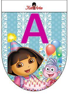 Free Dora the Explorer Banners. Banderines Gratis del Cumpleaños de Dora la Exploradora.