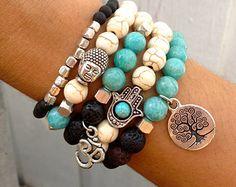 Design your own photo charms compatible with your pandora bracelets. Tree of Life HAMSA OM BUDDHA Bracelet Set Lava by GrizzyLove Boho Jewelry, Jewelry Crafts, Beaded Jewelry, Jewelry Bracelets, Jewelry Accessories, Handmade Jewelry, Jewelry Design, Jewellery, Hamsa