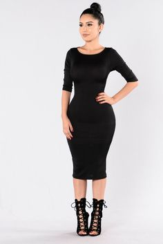 Available in Black, Olive, and Camel Fitted Dress Long Midi Length Sleeve Round Neckline X Lace Up Back Back Slit Made in USA Polyester Spandex Trendy Dresses, Sexy Dresses, Cute Dresses, Fashion Dresses, Hot Dress, Dress Me Up, Dress Long, Sadies Dress, Gray Dress